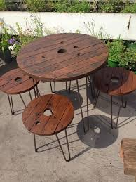 Ebay Patio Table Umbrella by Wooden Garden Furniture Set Table And Stools Upcycled Cable Reel