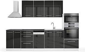 vicco küche fame line küchenzeile küchenblock einbauküche 295cm hochglanz anthrazit hochglanz