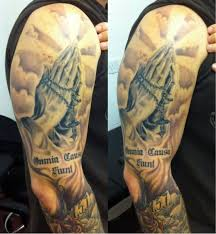 Arm Tattoo Clouds 14 3D Praying Hands With Cloud Shading On Right Half Sleeve By