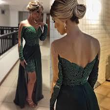 charming emerald green illusion long sleeve evening formal wear
