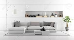 weißes modernes wohnzimmer mit wandverkleidungen und nischen 3d rendering