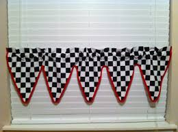 Checkered Flag Window Curtains by Nascar Checkered Flag Valance For Kids Room Made To Order