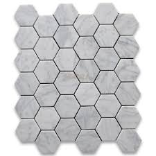 carrara marble tile italian white 2 inch hexagon mosaic honed