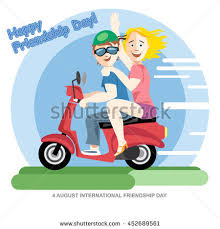 Happy Friendship Day Card 4 August Best Friends Girls Riding A Red Motorcycle