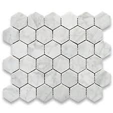 carrara marble mosaic tile white italian hexagon 2 inch 0