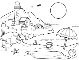 Village Beach Kids Coloring Pages