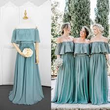 Off Shoulder Chiffon Bridesmaid Dresses Lace Up 2018 Bohemian