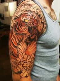 Asian Style Designed And Colored Demonic Tiger Tattoo On Shoulder