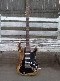 Fender Black Parts Relic Aged Worn Burnt Custom Made Strat John Mayer Style