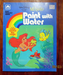 Golden Books Paint With Water Coloring Book Little Mermaid 1989 Unused Unpainted GoldenBook