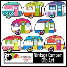 Vintage Camper Clip Art Retro Clipart Trailer From RebeccaBDesignShop On Etsy Studio