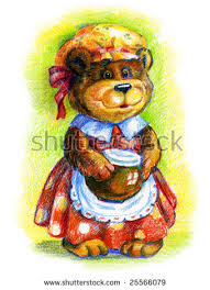 Mother Bear With Pot Of Honey Colored Pencil Drawing By Hand