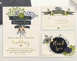 Floral Wedding Invitation Printable Rustic Suite Blush Gold Navy Invite