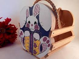 Wooden Rabbit Basket White Bunny Colorful Easter Spring Home Decor