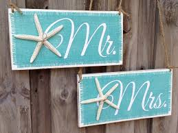 Mr and Mrs wedding chair signs for a beach wedding