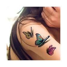 Floral Butterfly Tattoos Pack Of 12 Sheets Bright Colorful 3D Flower Temporary Tattoo Chic