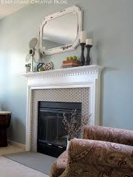 stenciled faux tile fireplace tutorial east coast creative