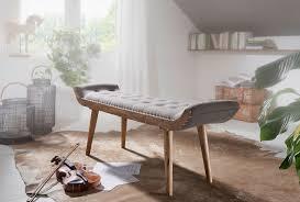 wohnling sitzbank stoff massivholz bank grau 125x51x38 cm chesterfield design polsterbank flur stoffbank bettbank 2 personen flurbank modern
