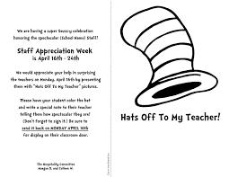 Dr Seuss Teacher And Staff Appreciation Week