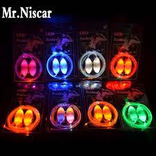 mr niscar 1 pair flash glowing shoe strings light up led