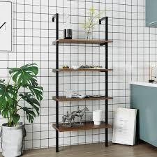 leiterregal bodenregal wandregal 4 tier bücherregal stabiler metall rahmen für bad küche wohnzimmer balkon schlafzimmer büro wandregal metall