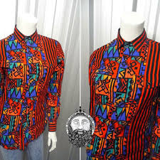 Vintage 90s Wrangler Shirt Womens Fitted Aztec Print Western Vertical Stripe Hip Hop Hipster