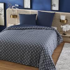 bettwäschegarnitur aus baumwolle grau und blau druckmuster 240x260 bedruckt maisons du monde