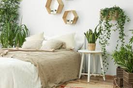 schlafzimmer deko idee moderner landhausstil mit pflanzen