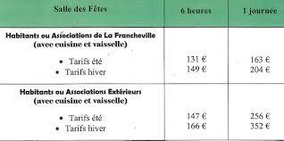 tarif salle des fetes tarifs de la salle des fêtes commune de la francheville ardennes