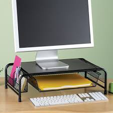 Black Metal puter Monitor Desk Stand from Collections Etc