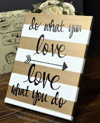 Gold Striped Canvas Wall Art Painting Custom Quote Love What You Do Office Studio Hanging Dorm Decor Sign