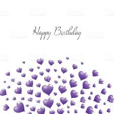 Vector Happy Birthday Greeting Card with Purple Heart Balloons royalty free vector happy birthday greeting