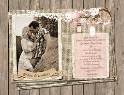 Burlap Mason Jars And Pink Image Rustic Wedding Invitation