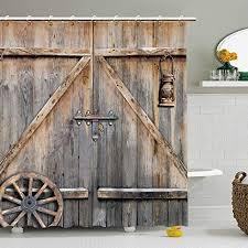 fay holz duschvorhang scheunentür rustikaler stoff badezimmer vorhänge set mit haken braun alte garagentür landhaus stil kunstwerk