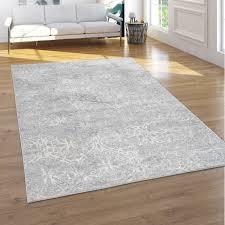 teppich wohnzimmer kurzflor blumen orientalisches muster ornamente 3d effekt grau