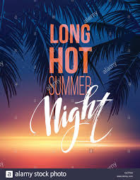 Hot Summer Night Party Poster Design With Typographic Elements On The Sea Beach Background Vector Illustration
