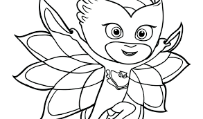Pj Masks Coloring Pages Owlette Black And White Copy Pics Download B