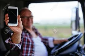 100 Truck Phone Senior Driver Showing Mobile While Driving Stock Photo