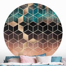 runde tapete selbstklebend türkis rosé goldene geometrie