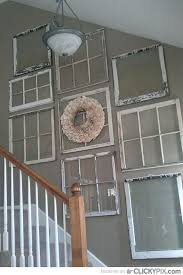 Vintage Old Window Frames As Stairway Hall Wall Decor For Cottage Style Home Ideas And Goods Shop At Estate ReSale