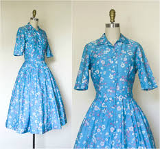 1950s blue cotton shirt dress vintage 50s floral print pin up