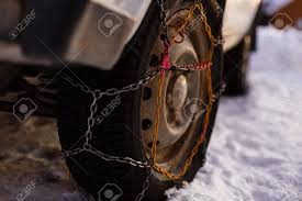 100 Snow Chains For Trucks On Vehicle Chain Wheel Car In The Stock Photo