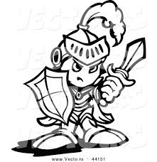 Vector Of A Strong Cartoon Knight Holding Up Shield And Sword