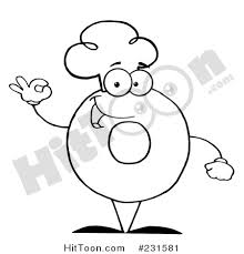 Coloring Page Outline Of A Donut Character Wearing Chef Hat And Gesturing Ok 231581
