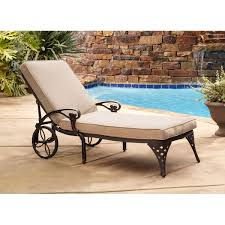Bronze Chaise Outdoor Lounge Chair With Taupe Cushion