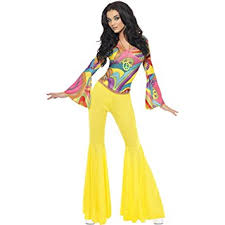 70s Outfit Retro Women Vintage Hippy Fancy Dress Flower Power Costume Child Hippie 60s Theme Party Ladies