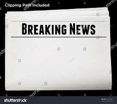 Newspaper With Breaking News Headline And Blank Content Isolated Clipping Path 336179501
