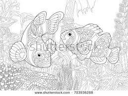Coloring Page Of Underwater World Clown Fish On The Background A Sunken Ship