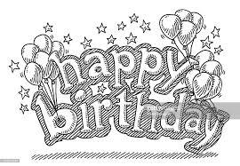 Happy Birthday Balloons Stars Drawing Vector Art