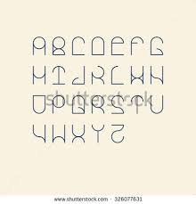 Vector Linear Font Simple Alphabet Mono Stock 326077631